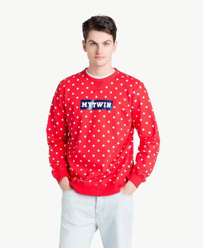Sweatshirt mit Tupfen Geranienrot Mann US8252-01