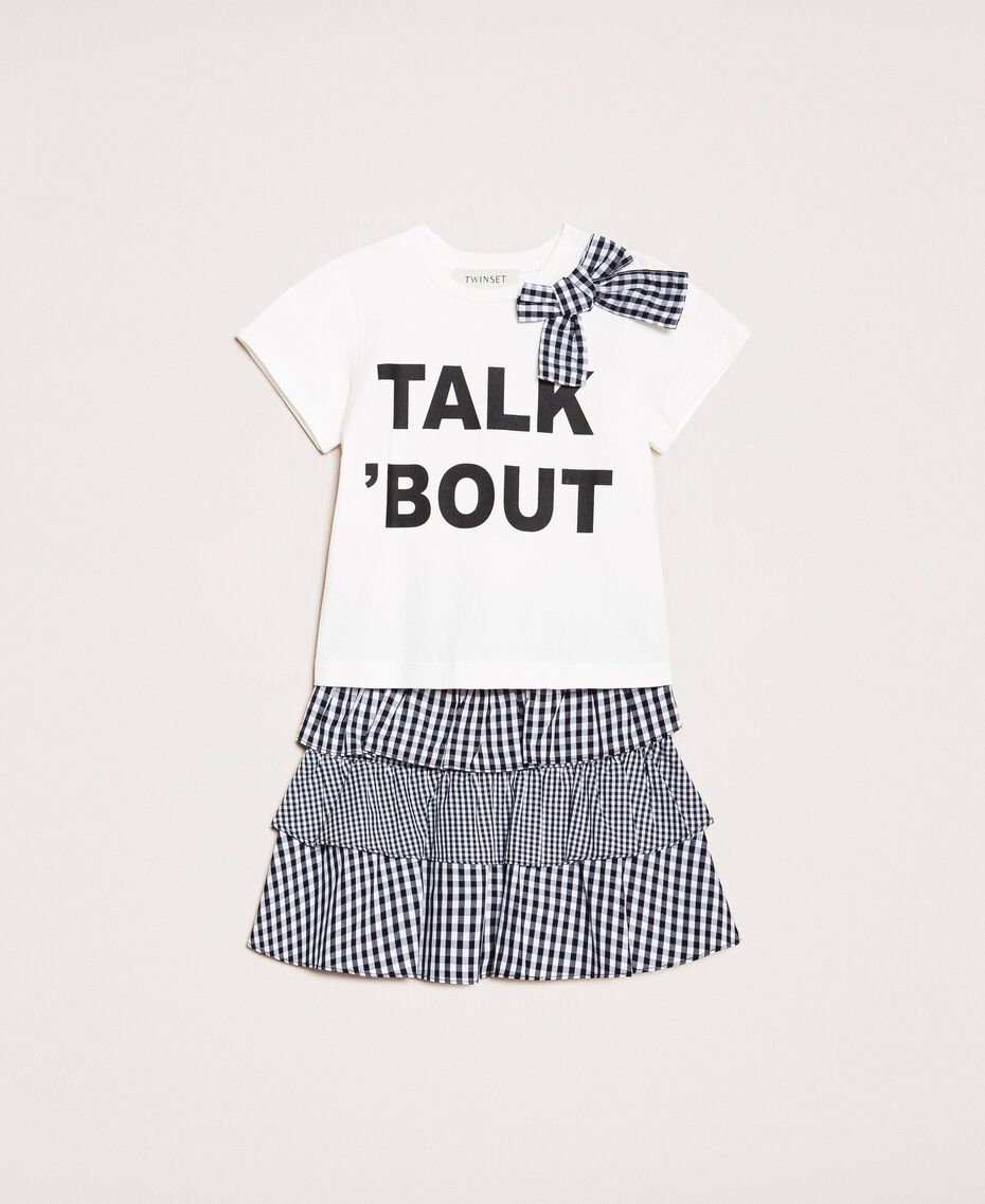 """Printed T-shirt and gingham skirt Two-tone """"Papers"""" White / Vichy Mix Child 201GB2092-01"""