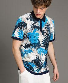 "Crêpe cotton printed polo shirt All Over ""Palms"" Marine Print Man 191UT3061-02"