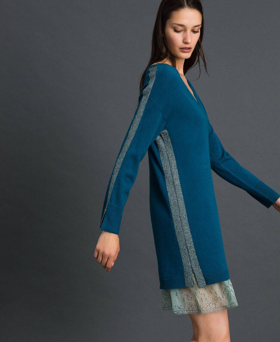 Robe avec bandes en lurex et fond de robe Bleu «Lake» Femme 192MP3100-02
