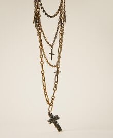 Multi-chain necklace with rhinestone crosses Black Diamond Grey Woman 202TA4316-01
