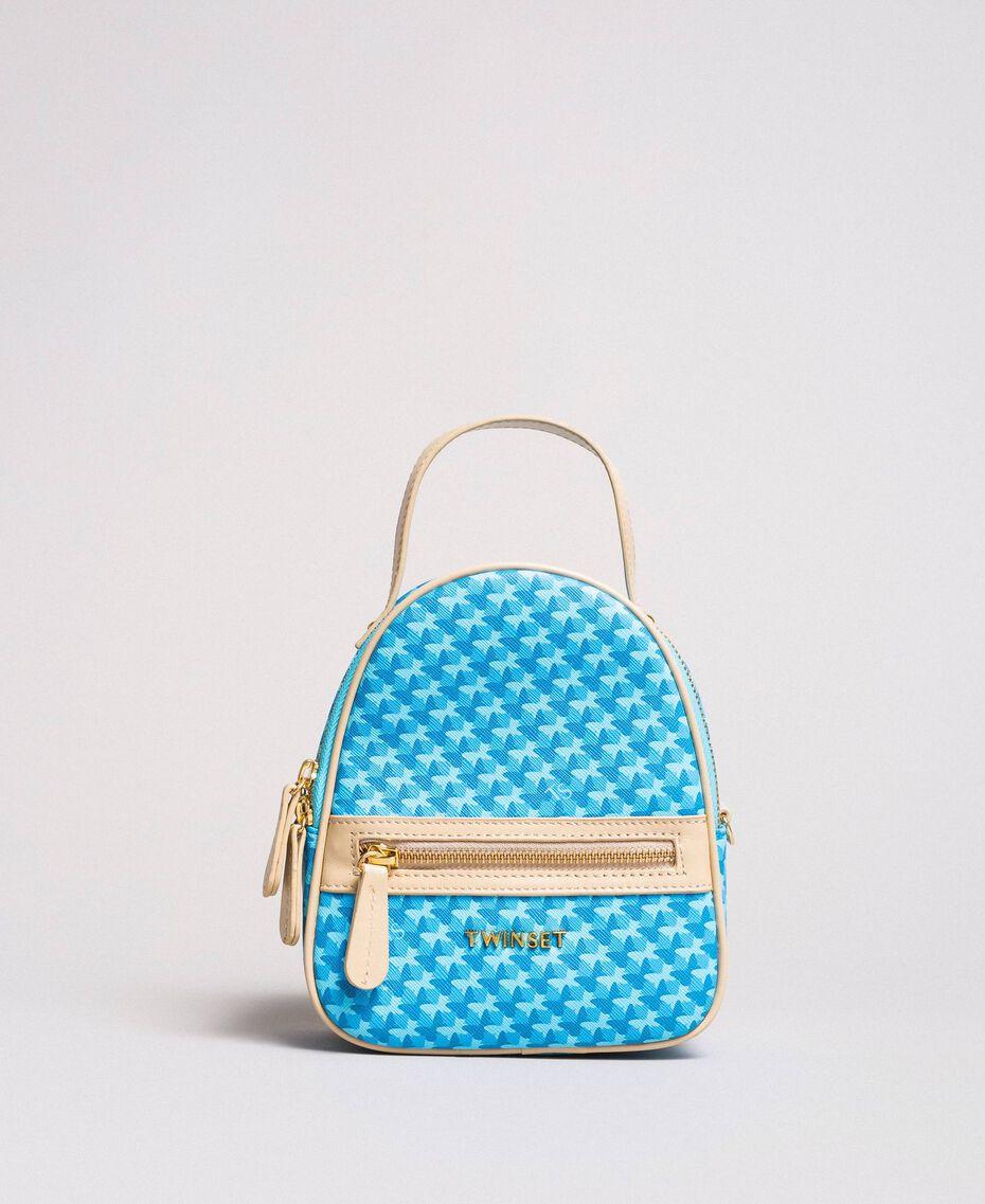 Butterfly print mini backpack Mikonos Light Blue Butterflies Print Woman 191TA7176-02