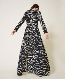 Animal print crêpe de Chine dress Black / Cream White Zebra Print Woman 202MP2430-04