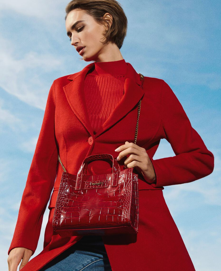 """Small leather Twinset Bag with crocodile print """"Cherry"""" Red Croc Print Woman 202TB7111-0S"""