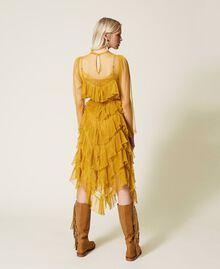 Pleated flounce tulle dress Saffron Yellow Woman 212TP2200-03