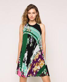 Pleated georgette printed dress Black Scarf Print Woman 201MP2364-01