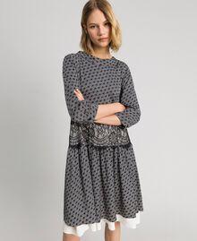 Kleid aus Twill mit Logoprint Logoprint Schwarz / Schneeweiß Frau 192TP258C-02