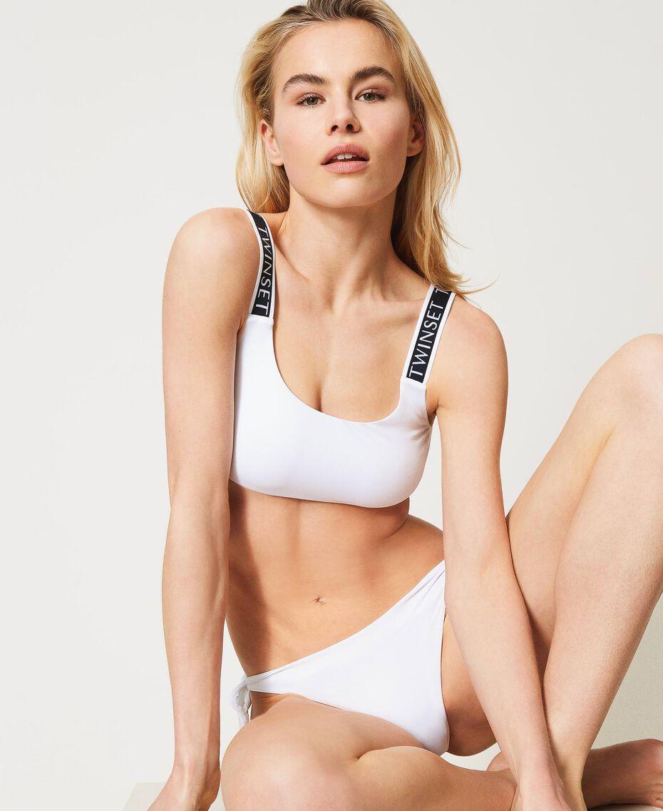 Bikini con brassière e brasiliana con fiocchi Bianco Donna 211LMMPWW-01