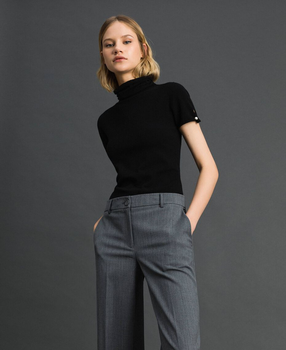 Short sleeve turtleneck with pearl buttons Black Woman 192TP3242-02