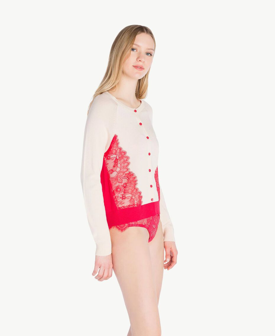 "Lace cardigan Two-tone Cherry Red / ""Peach Powder"" Pink Woman LS8BNN-03"