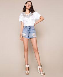 Shorts with rhinestones Denim Blue Woman 201MP2272-03