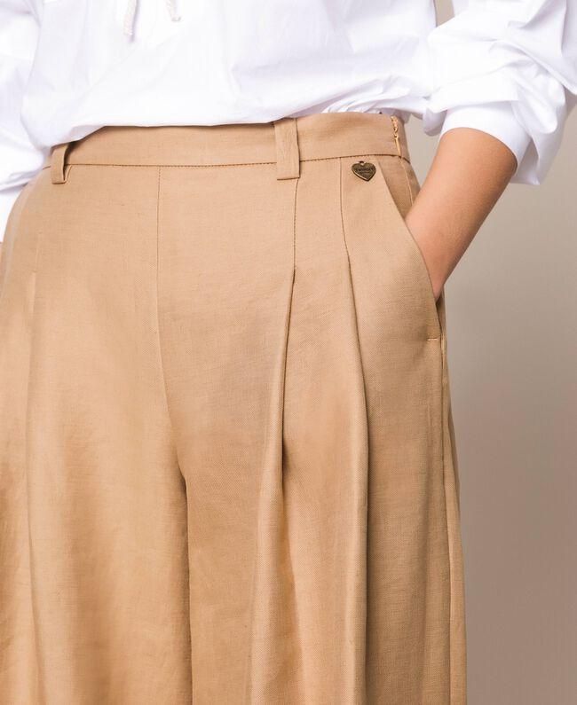 Weite Hose aus Leinenmischung Dünenbeige Frau 201TP2257-04