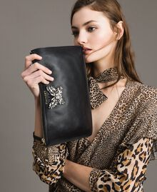 Leather clutch bag with butterfly Nougat Beige Woman 191TA7290-0S