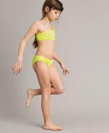 """Bikini épaule dénudée avec strass Jaune """"Bambou"""" Enfant 191GJM905-0S"""