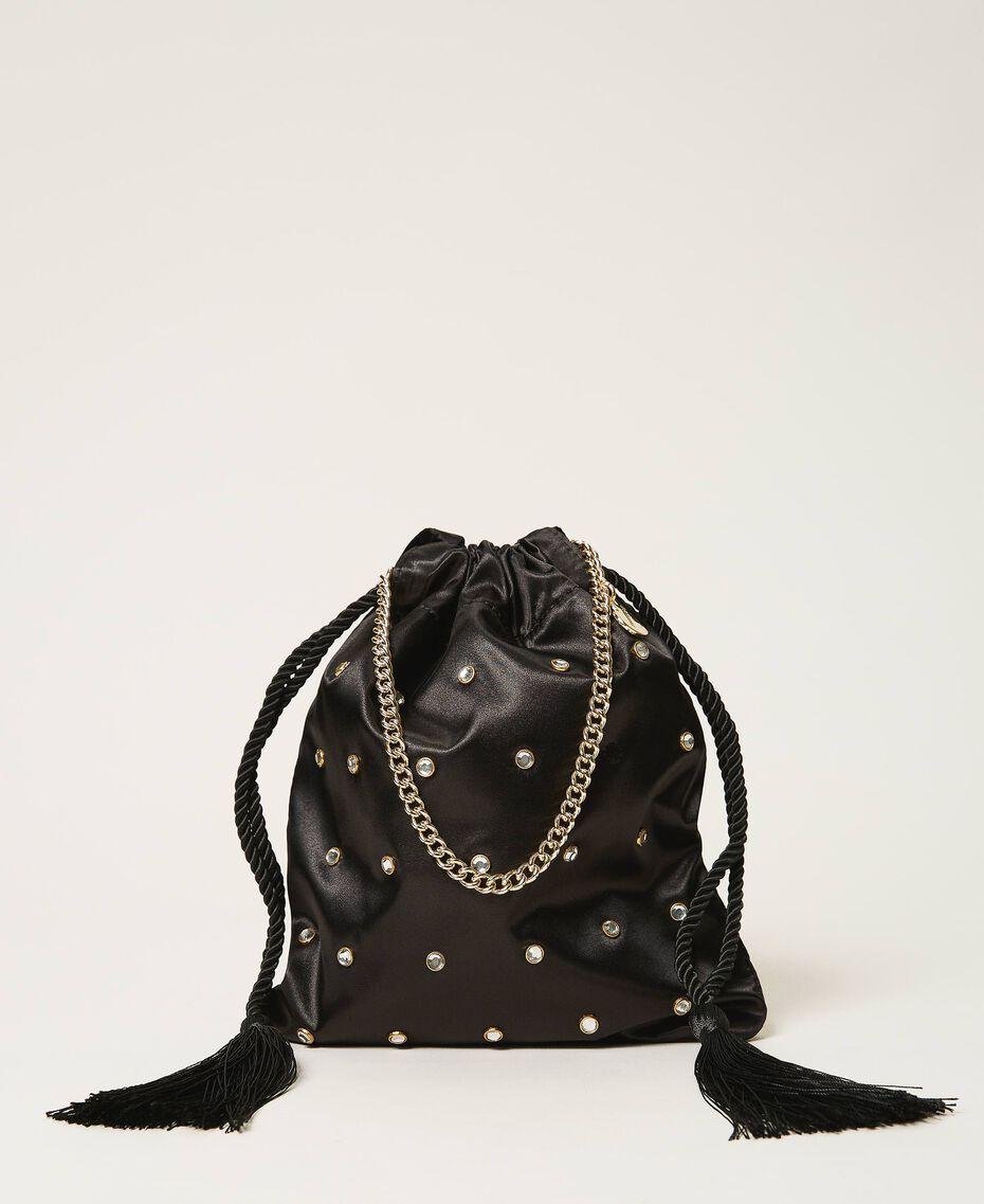 Атласная сумка со стразами Черный женщина 211TD8221-01