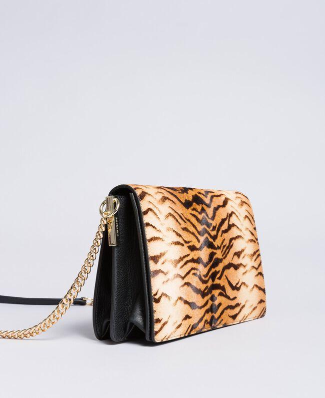 Sac à bandoulière en cuir effet poulain et cuir Imprimé Tigre Femme OA8TDN-03