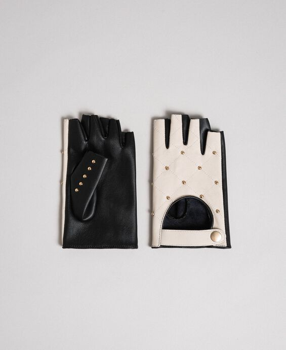 Two-tone leather gloves with studs