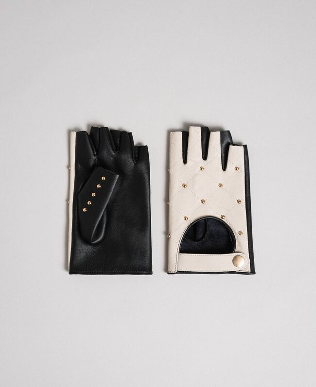 "Two-tone leather gloves with studs Black / ""Vanilla"" White Woman 192MO5393-01"