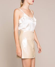Glossy faux leather mini skirt Vanilla White Woman 201MP2240-02