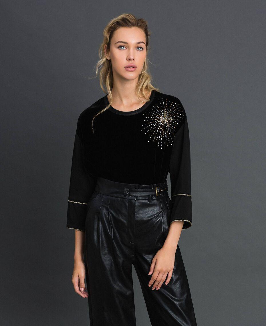 Blusa de terciopelo y cady con bordado Negro Mujer 192TT2422-01