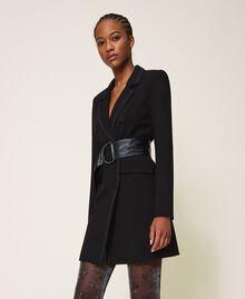 Long jacket with crêpe de Chine details Black Woman 202MP2291-02