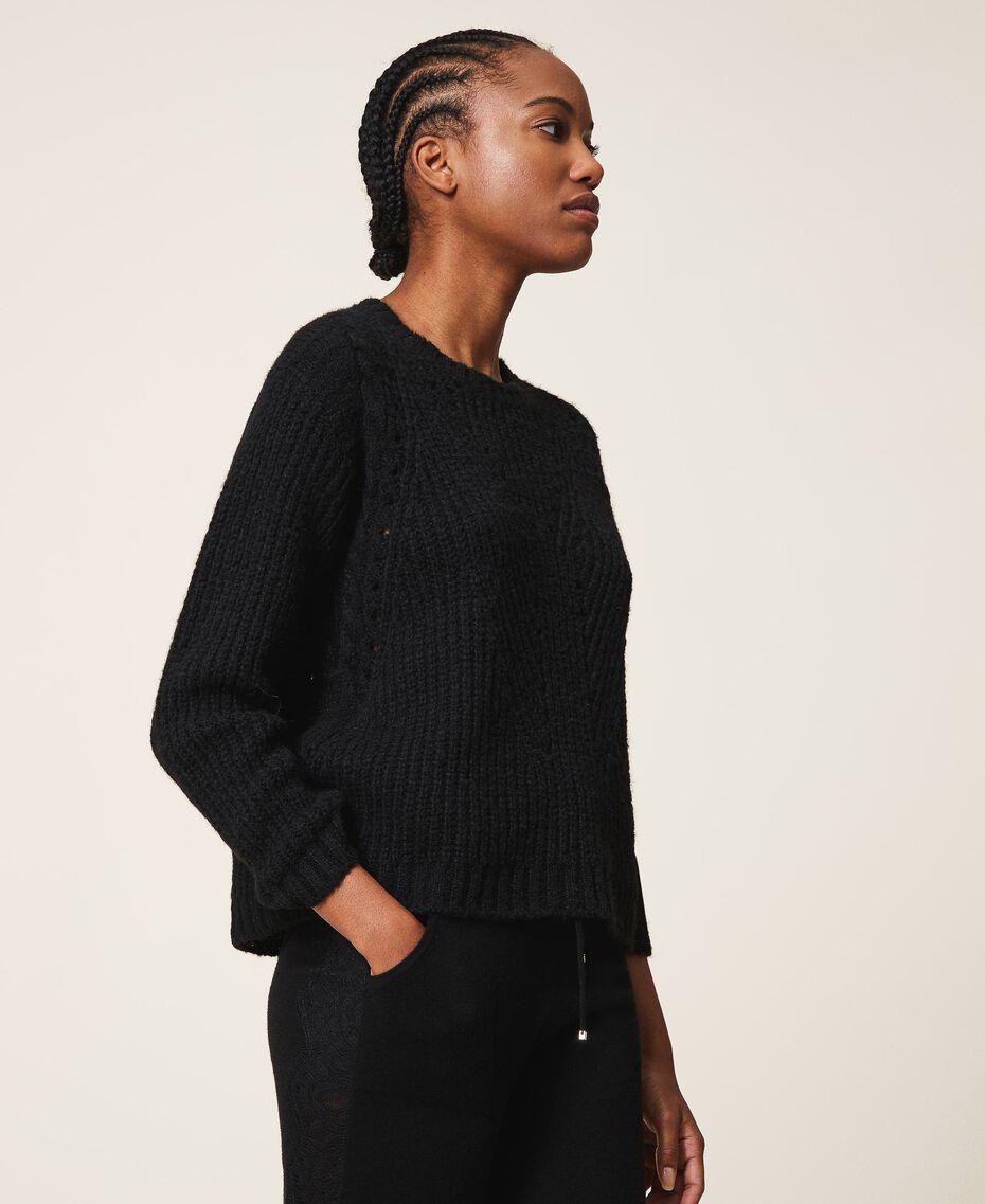 Mixed stitch work jumper Black Woman 202MP3210-02