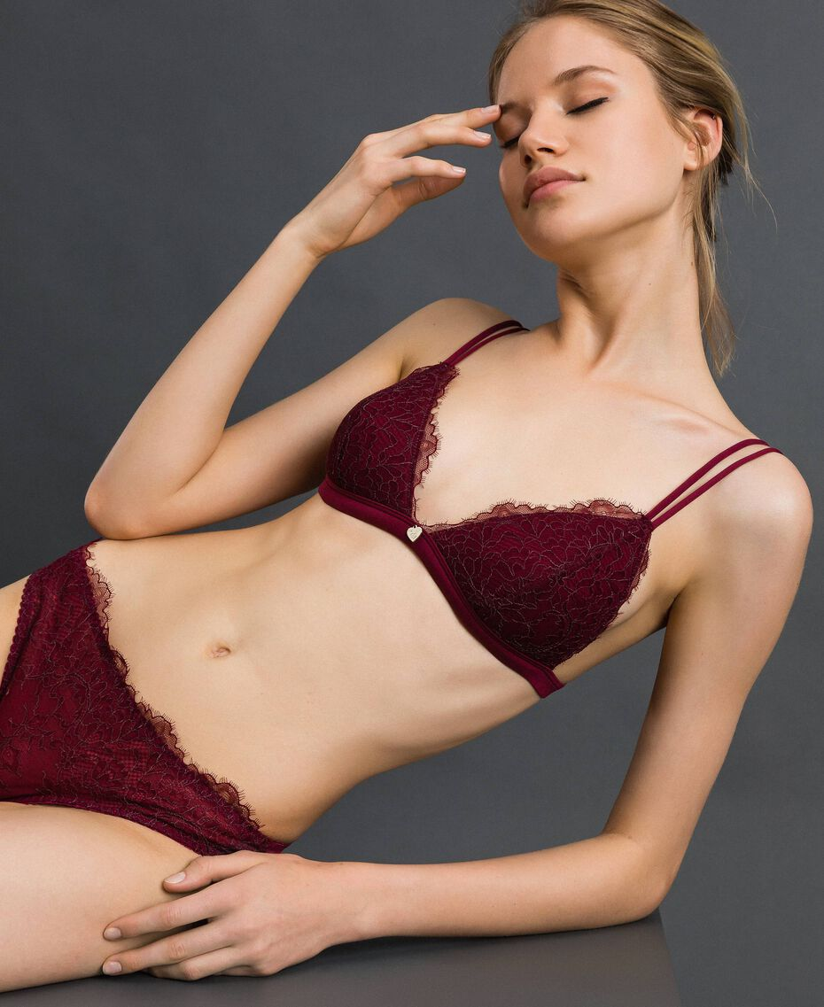 Padded lace triangle bra Purple Red / Lead Grey Woman 192LI6422-01
