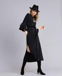 Long silk blend dress with rhinestones Black Woman TA8233-0T