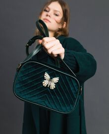 Velvet shoulder bag with butterfly Dark Green Woman 192TA7091-0S