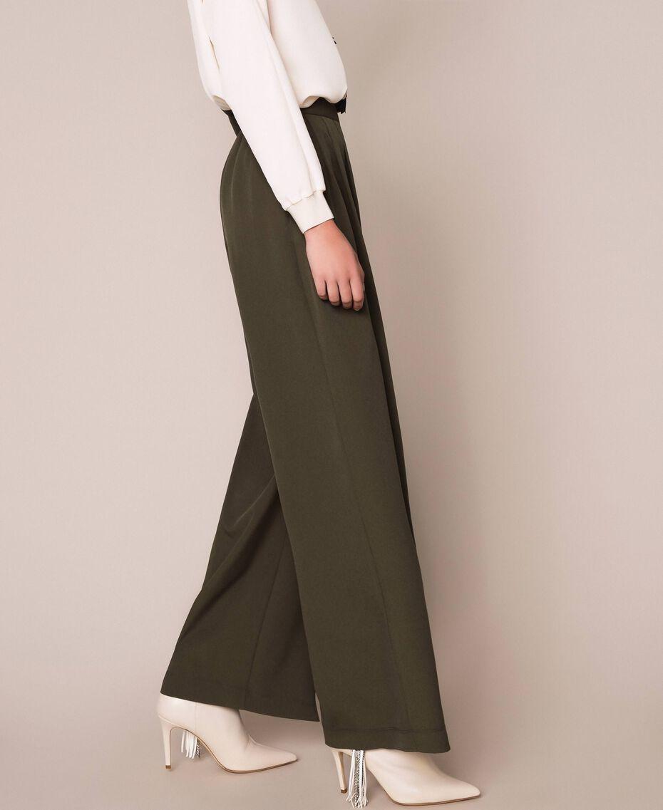 Crêpe de Chine wide trousers Elm Green Woman 201ST2016-02