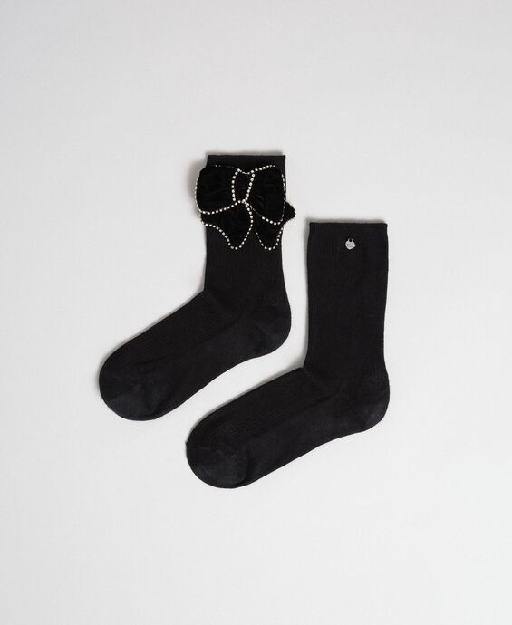 Short socks with removable bow