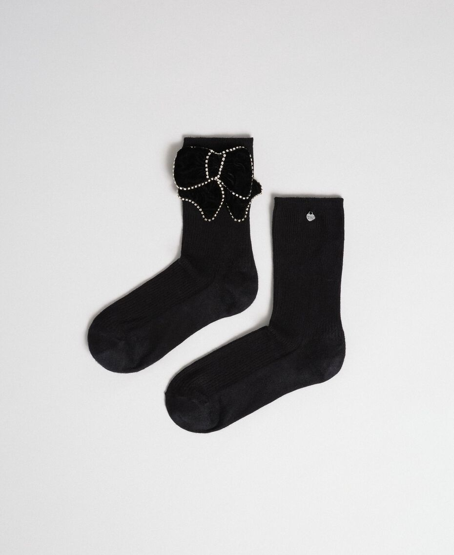 Short socks with removable bow Black Woman 192TA4324-01