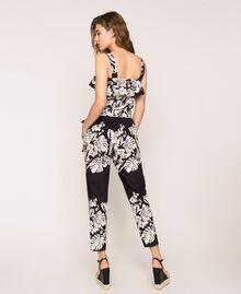 Combinaison en popeline florale Imprimé Fleur Graphique Noir Femme 201TT2314-03
