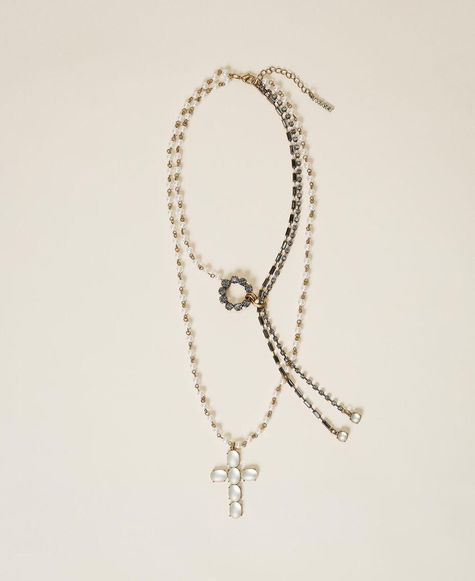 Rosenkranzhalskette mit Perlen und Strass Weiß Pergament Frau 202TO5045-01