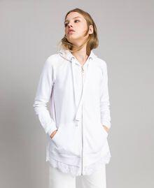 Sweat-shirt avec capuche et dentelle Crème White Femme 191MP2323-01