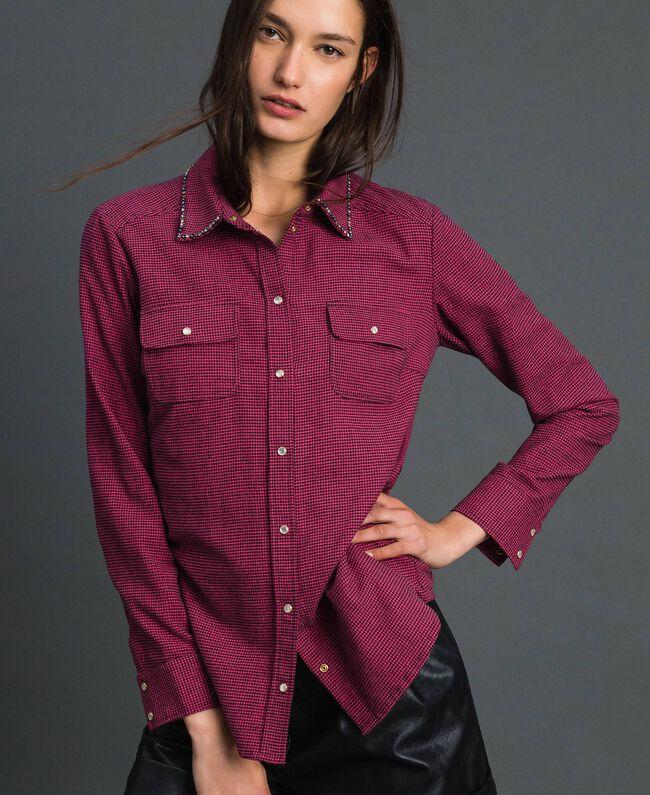 Chemise avec petit motif pied-de-poule Pied de Poule Rose«Rose Brillant» / Noir Femme 192MT2124-01
