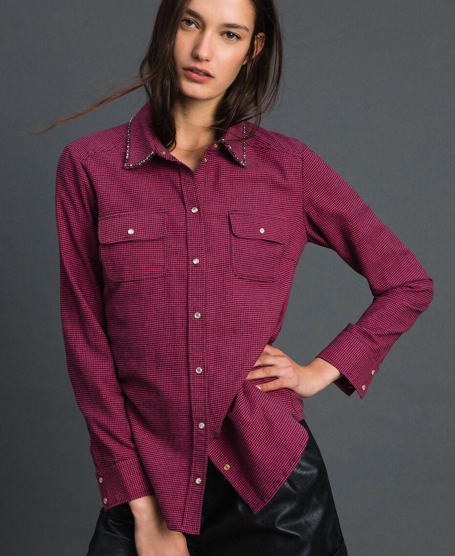 """Camicia in micro pied-de-poule Pied De Poule Rosa """"Pink Gloss"""" / Nero Donna 192MT2124-01"""