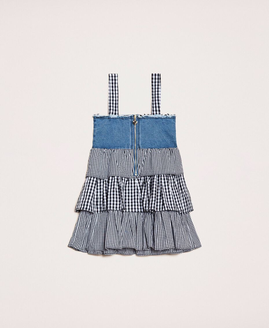 Denim dress with gingham flounces Two-tone Medium Denim / Vichy Mix Child 201GB2012-0S