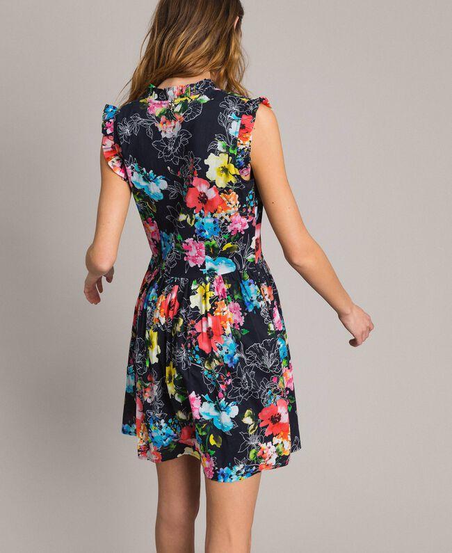 Kleid mit Blumenprint und geraffter Taille All Over Black Multicolour Flowers Motiv Frau 191MT2295-01