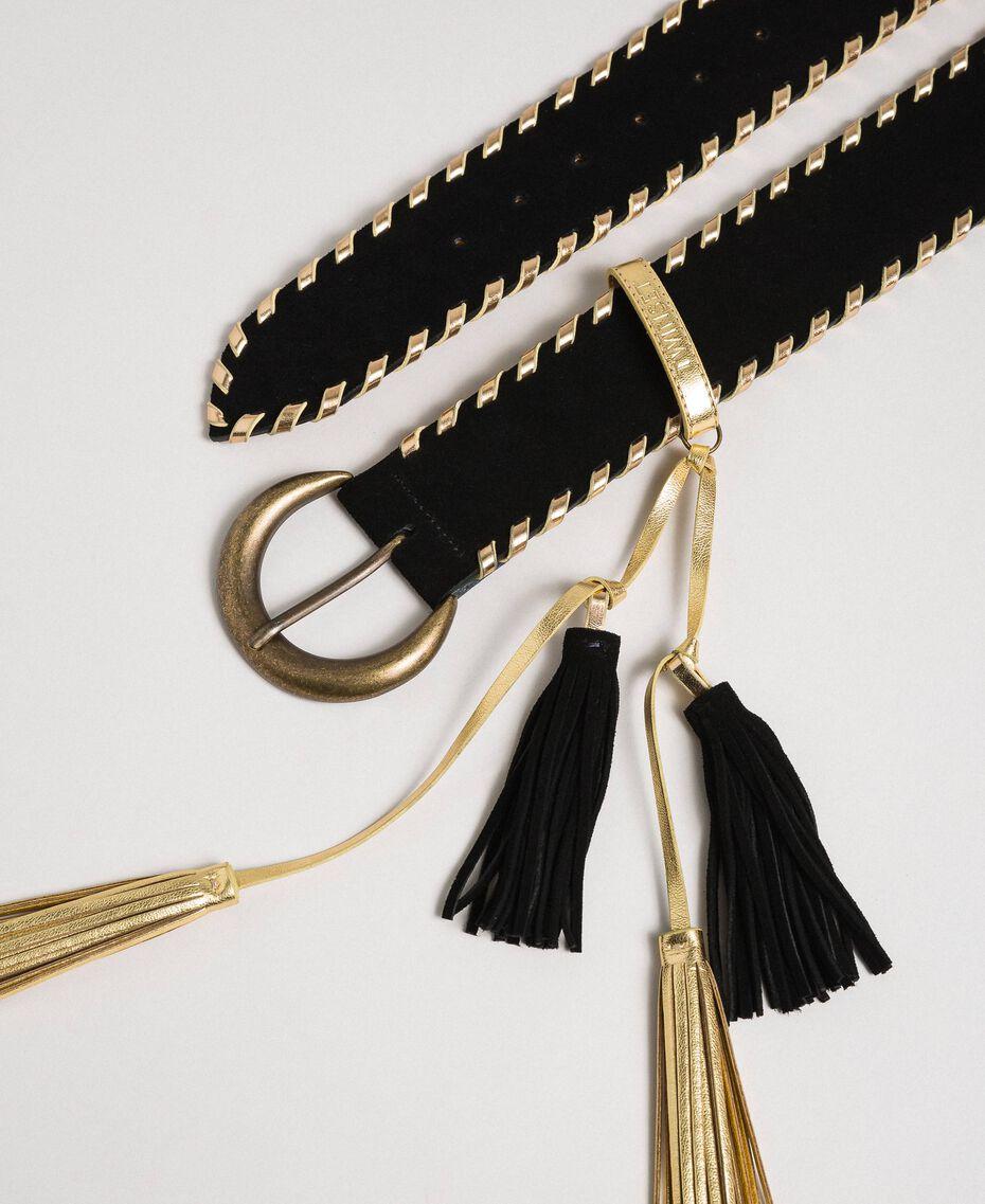 Ceinture taille haute effet cuir velours Noir Femme 192TO5341-02