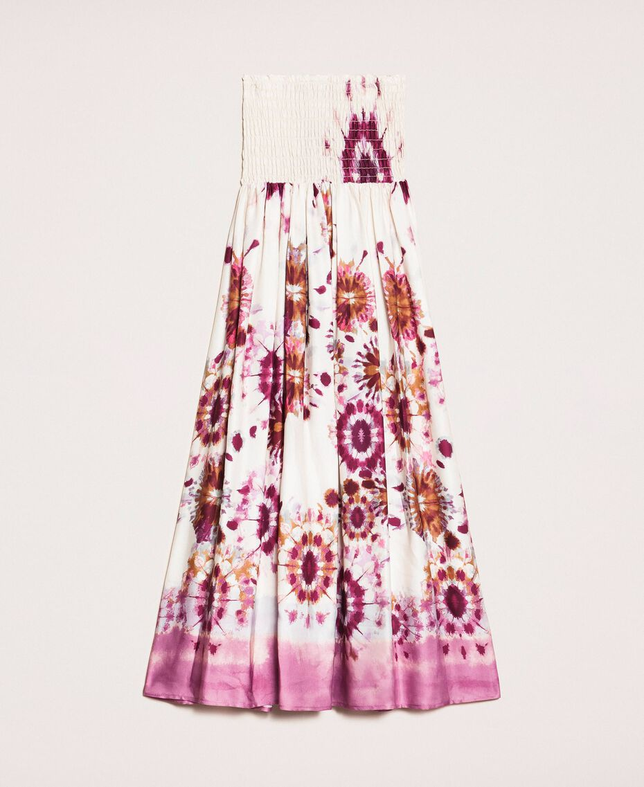 Printed satin skirt-dress Flirty Rose Unevenly Dyed Print Woman 201LB2GLL-0S