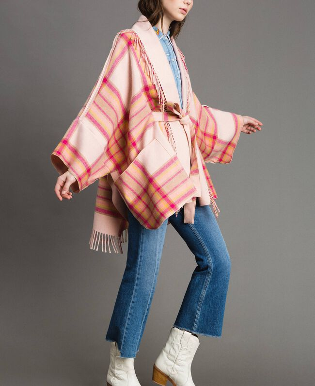 "Check wool cloth poncho ""Pink Check"" Woman 191TP2621-01"