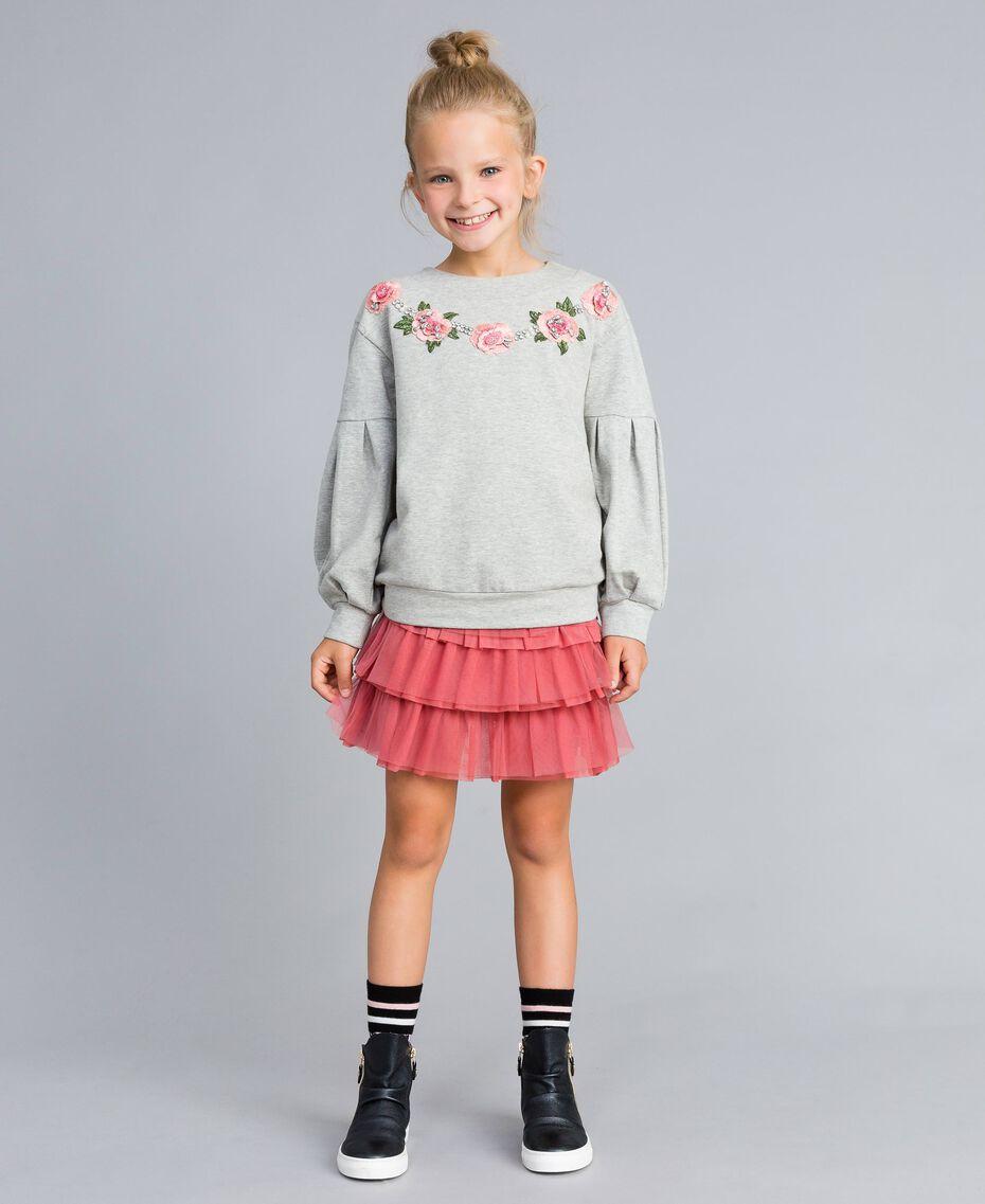 Embroidered stretch viscose sweatshirt Light Gray Mélange Child GA82SA-02