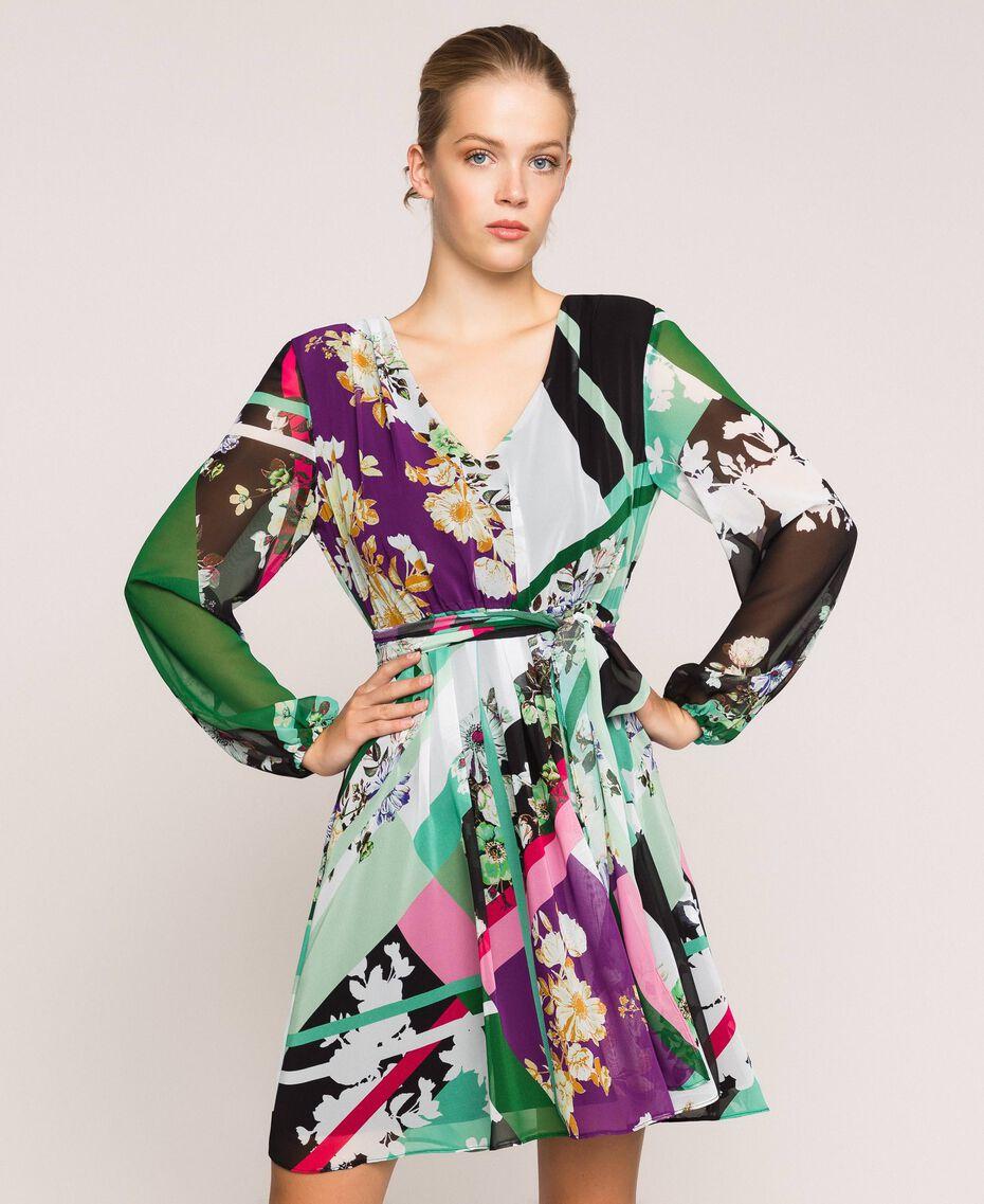 Vestido de georgette estampado Estampado Fular Negro Mujer 201MP2362-01