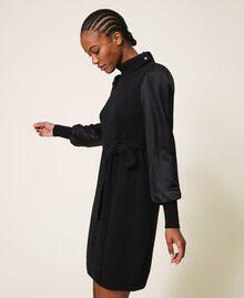 Платье из полушерсти с атласом Черный женщина 202TT3170-04