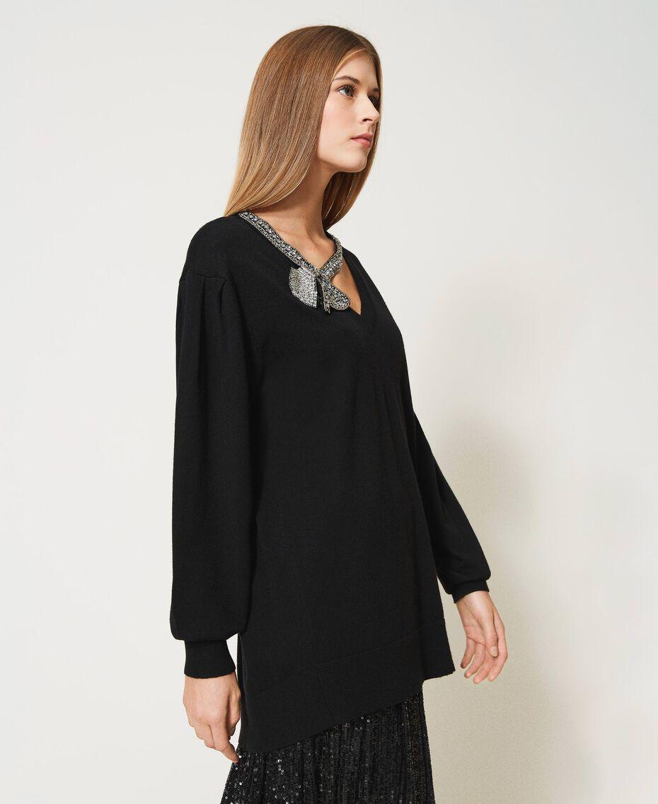 Maxi maglia con fiocco gioiello Bianco Neve Donna 211TQ301A-02