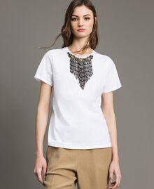 T-Shirt mit Stickerei und Fransen Weiß Frau 191TT2204-04