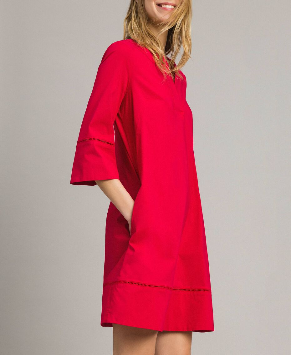 """Popeline-Kleid mit Stickerei """"Lipstick Red"""" Rot Frau 191TT2242-02"""