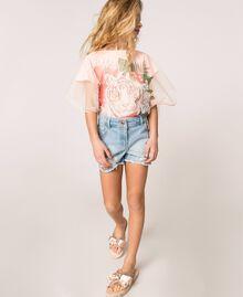 Mules modèle slide en tissu pailleté avec nœud Rose En fleur Enfant 201GCJ012-0S