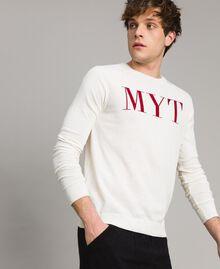 """Pull en crêpe de coton avec logo Bicolore Blanc Opaque / Rouge """"Framboise Foncé"""" Homme 191UT3040-02"""